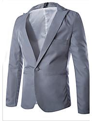 Blazer Pour des hommes Couleur plaine Décontracté / Travail Mélange de Coton Manches longues Noir / Bleu / Rose / Gris