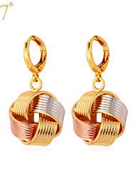 U7® Women's Platinum/18K Real Gold/Rose Gold Multi-Tone Gold Plated Fancy Ball Drop Earrings