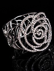 Aomei NEW!!!! Vintage Charm Queen Women Crystal/ Diamond/Rhinestone Rose Big Bracelets For Bridal Wedding Party