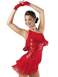 Latin Dans - Drakter/Kjoler - til Dame/Barne ( Som På Bilde , Palliet-belagt/Lycra , Pallietter/Side-Drappert/Dusker/Niveauer )