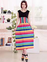 Women's Round Collar Sweet Print Sleeveless Beach Dress