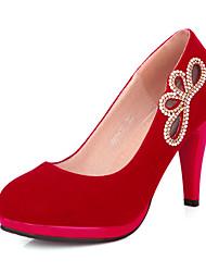 Stiletto - Vlies - FRAUEN Absätze/Runde Zehe - Pumps / High Heels ( Schwarz/Rot )