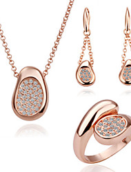 Arinna Fashion Jewelry Set Women 18k rose Gold Plated w clear crystal Necklace& Earrings&Ring Gift Set G1358