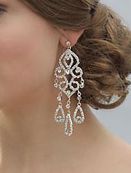 Damen Ohrring Silber/Perle Strass Drop Earrings