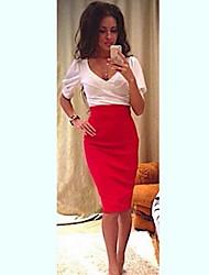 Women's Bodycon/Party V-Neck Short Sleeve Dresses (Polyester)
