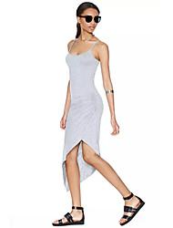 TS Women's Contracted Sexy Light Grey Fold Fold Dress