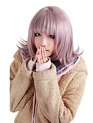 Angelaicos Women Super Dangan Ronpa 2 Chiaki Nanami Christmas Medium Purple Curly Lolita Halloween Cosplay Wig