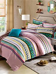 Geometric Duvet Cover Sets Striped Bed Linen for Children Girls