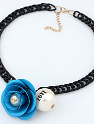 Women's European Bohemia Hand-Made Flower Tassel Droplets Geometry Hollow Out Alloy Necklace (More Colors)