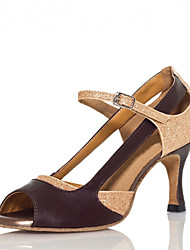 Women's Dance Shoes Latin Satin Flared Heel Silver/Gold