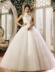 Ball Gown Wedding Dress - Ivory Floor-length Halter Organza