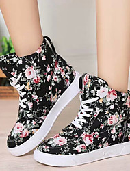 Canvas Lady Women's Shoes Black/White Flat Heel 0-3cm Fashion Sneakers (Canvas)