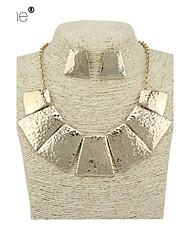 Lureme® Fashion   Alloy  Geometric Tassels Sheet  Metal Pendant Necklace  Earrings  Set