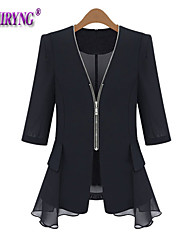 Women's Sexy/Casual/Lace Medium Long Sleeve Regular Trench Coat (Cotton/Polyester/Cotton Blends)