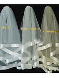 Velos de Boda 2 capas Capilla Con lazo 31,5 en el (80 cm) Tul Blanco / Marfil / Champán