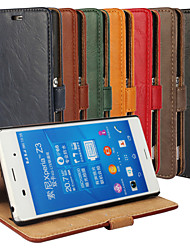 Bark Grain Genuine Leather Full Body Cover with Stand and Case for Sony Xperia Z3 (Assorted Colors)