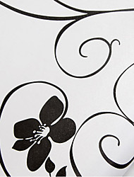 White Wallpaper for Home with Black Flowers Wall Covering PVC Wall Art Sticker