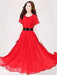 Women's Beach/Casual Micro-elastic Sleeveless Maxi Dress (Chiffon)