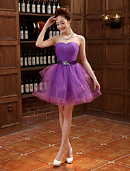 Cocktail Party Dress Ball Gown Strapless Short / Mini Tulle with Pleats / Crystal Brooch