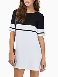 Women's Casual/Daily Dress,Color Block Round Neck Above Knee Short Sleeve Pink / Black / Yellow Summer