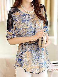 Women's Casual/Lace Micro-elastic ¾ Sleeve Long Blouse (Chiffon)