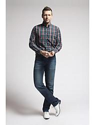 U&Shark New Hot! Men's Soft Business 100% Cotton Long Sleeve Shirt with Blue Black Yellow Check/MSX012