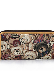 DANNY BEAR Women's Fashion Purple and Khaki Textile Bag Wallets