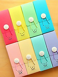 Cute Smiling Plastic Pencil Box with Elastic Cord Random Color