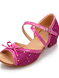 Women's/Kids' Dance Shoes Latin Leatherette/Paillette Flat Heel Pink/Silver/Gold