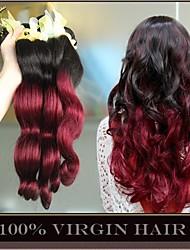 3 PC / porción ombre onda extensiones de cabello cuerpo virginal malasio dos tonos 1b / 99j vino borgoña 6a rojo paquetes armadura del