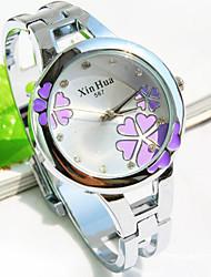nuevo reloj de pulsera de cuarzo patrón de la moda flor dial redondo reloj del brazalete de las mujeres (colores surtidos)