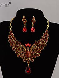 lureme® cristal moda europestyle as duas fênix voar lado a lado liga bridal jóias colar brincos set