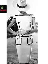 De las mujeres Vestido Sobre la rodilla Punto Romano - Manga Corta