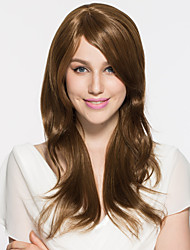 Women Long Light Brown Synthetic Wig