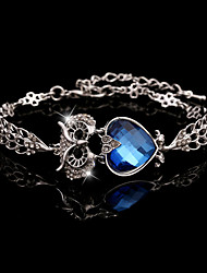 Owl Full of Crystal Silver Bracelet(Purple,Champagne,Blue)