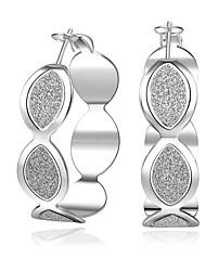 lureme® Fashion Style Silver Plated Drop Shape Shiny Hoop Earrings