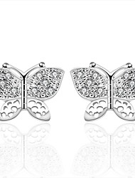 lureme® Fashion Style Silver Plated Butterfly Shaped with Zircon Stud Earrings