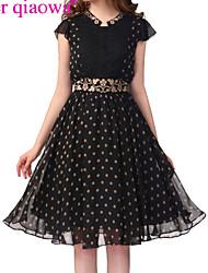 Women's Elegant Embroidery Polka Dot Dress