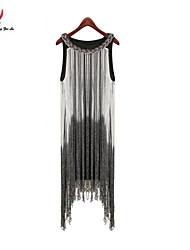 MENGFEILU®Women's  Noble Sleeveless Tassel Special Design Dresses