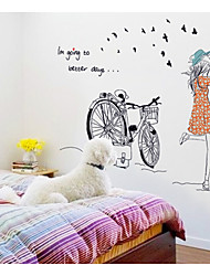 Wall Stickers Wall Decals, Cycling Girl PVC Wall Stickers