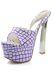 Women's Shoes Leatherette Wedge Heel Wedges Slippers Office & Career/Casual Purple/Silver/Gold/Multi-color