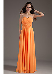Floor-length Chiffon Bridesmaid Dress - A-line Sweetheart Plus Size / Petite with Criss Cross