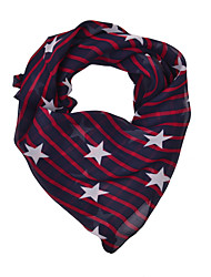 Women's Stripe Star Print Chiffion Square Bandana Scarf