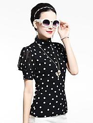 De las mujeres A Lunares Camiseta-Escote Chino-Malla-Manga Corta