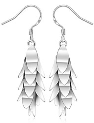 Fashion Leaf Shape Silver Plated Copper Foreign Trade Earring Stud (Silver)(1Pair)