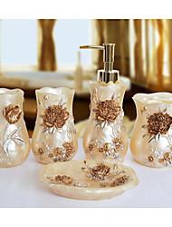The Bloom Flower Pattern Bathroom Ware 5 Sets/Beige