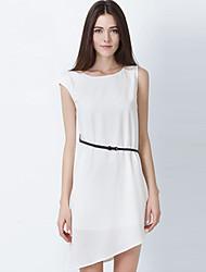 Women's Casual Loose Sleeveless Asymmetrical Dresses (Chiffon)