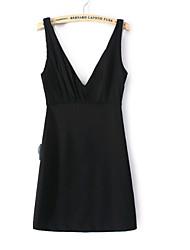 Women's Europe High Quality V-Neck Sleeveless Dress