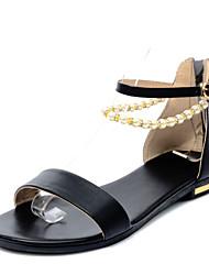 Zapatos de mujer - Tacón Bajo - Punta Abierta / Comfort - Sandalias - Oficina y Trabajo / Vestido - Semicuero - Negro / Plata / Oro