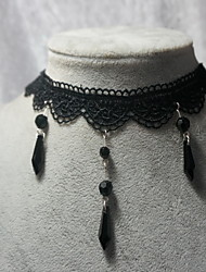 handmade elegante cristal preto cadeia lolita colar clássico